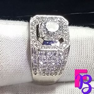 2.5 CTW Silver Mens Ring